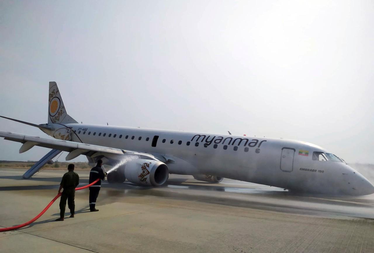 Myanmar passenger jet lands safely after landing gear fails | CTV News