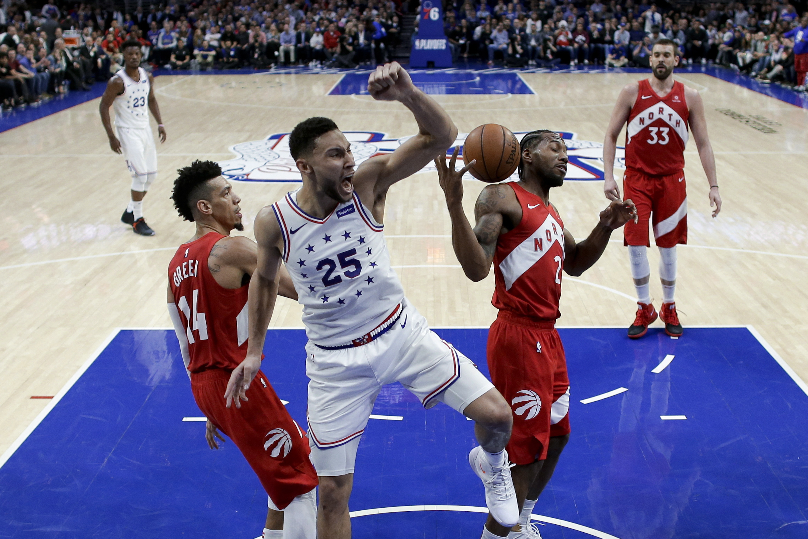 0cd4a4bee78 Sixers even semifinal series against Raptors with 112-101 in Philadelphia