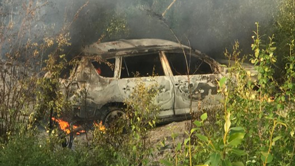 Image result for burned down getaway car""