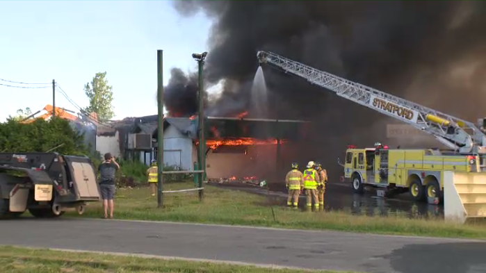 Fire breaks out at former antique warehouse in Stratford