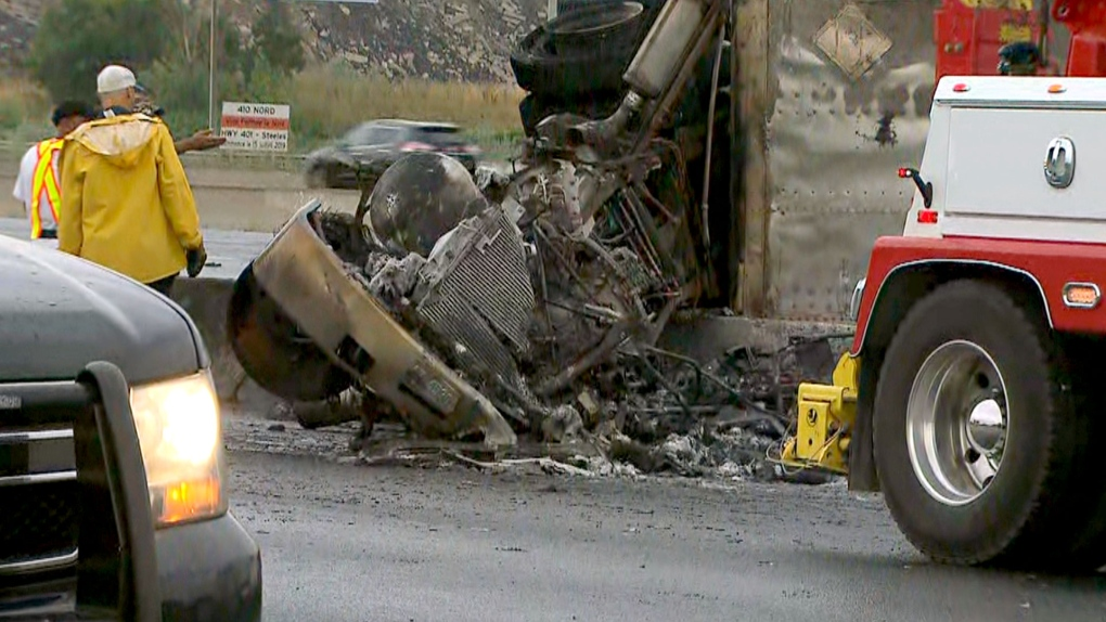 Cleanup continues after fiery double fatal crash on Hwy  401 in