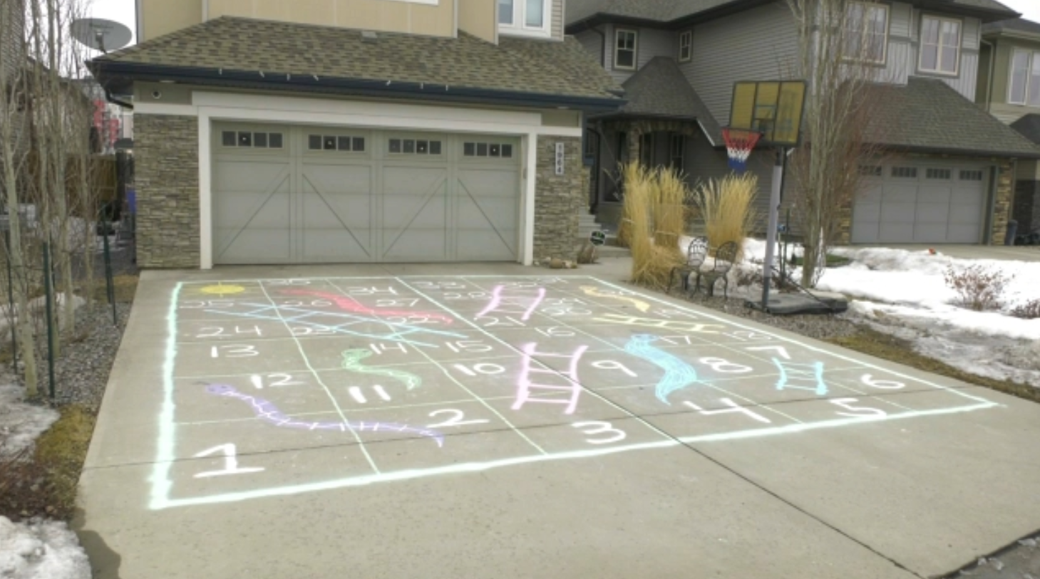 Giant Snakes And Ladders Game Drawn On Edmonton Driveway Ctv News