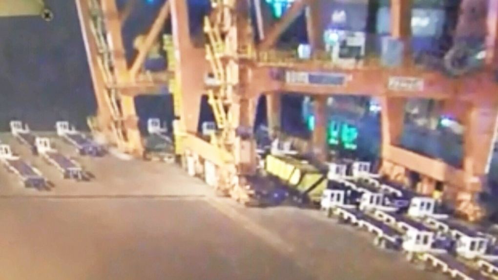 Video shows crane collapsing at Port of Vancouver | CTV News