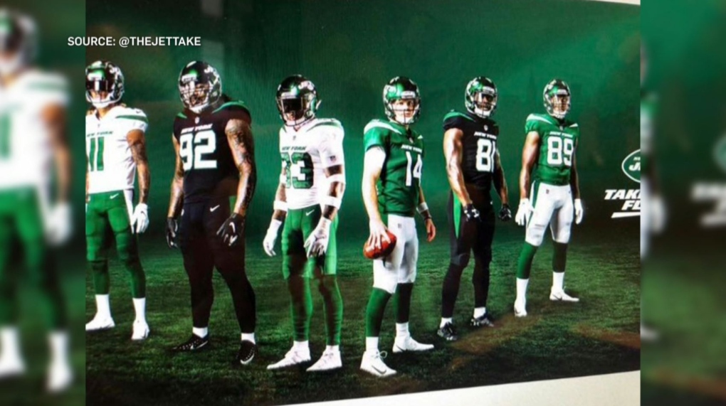 a624ec15 Leaked New York Jets jerseys 'very similar' to Rider green and white ...