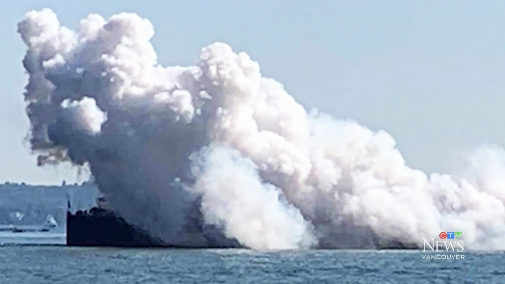 Cargo ship's hatch blows open in Burrard Inlet: coast guard