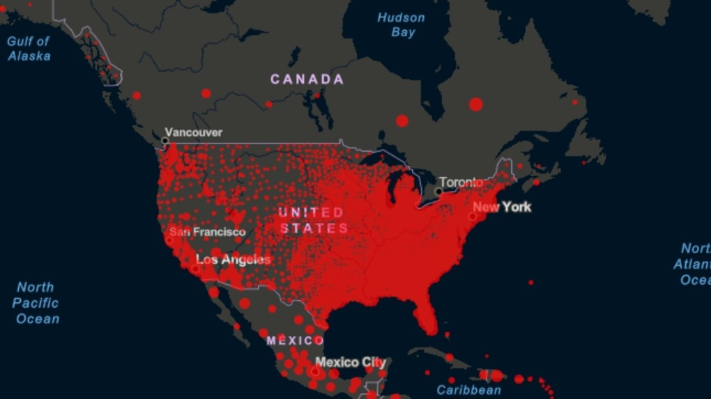 Toronto Usa Canada Map This map shows why it would be 'terrifying' to open Canada U.S.