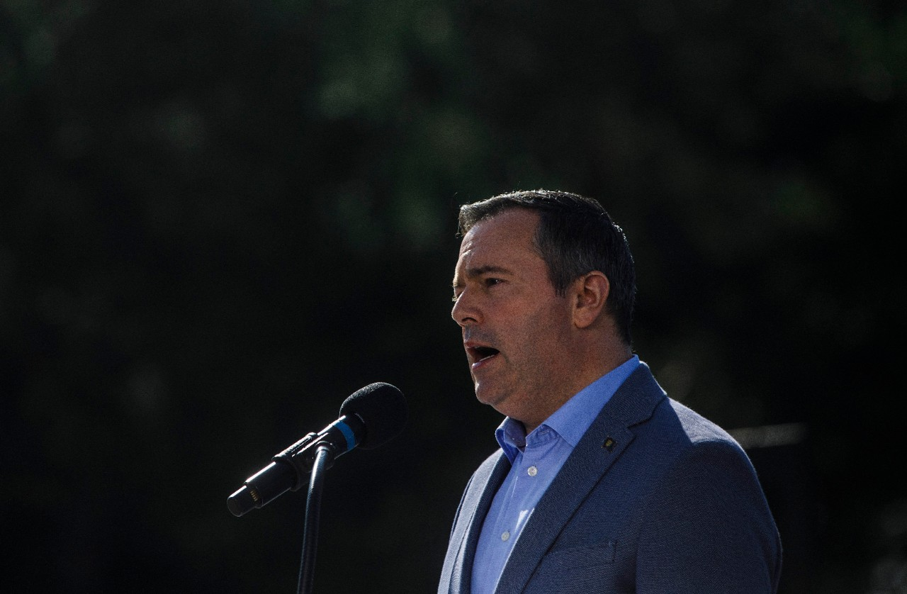 Alberta Premier Jason Kenney discusses the accomplishments of his government in its first 100 days in office, in Edmonton on Wednesday August 7, 2019. THE CANADIAN PRESS/Jason Franson