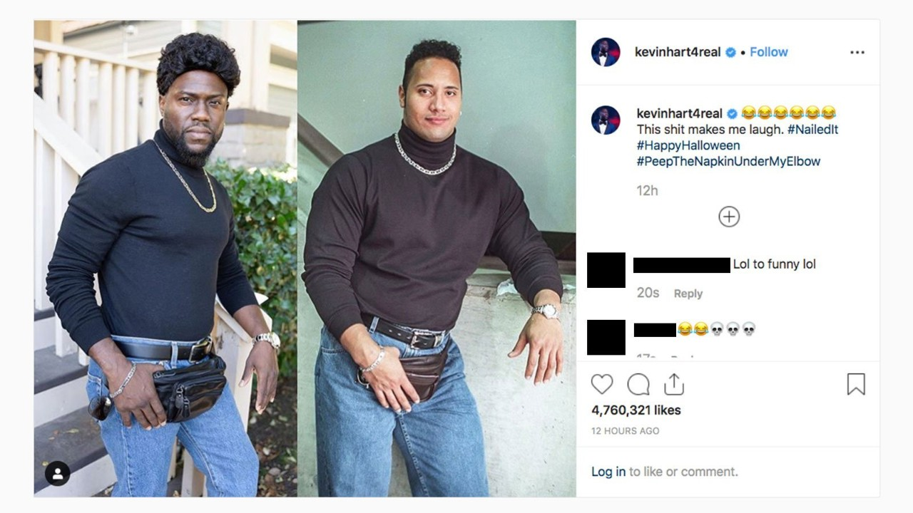 Kevin Hart Halloween 2020 The Rock Kevin Hart trolled 'The Rock' for Halloween   CTV News