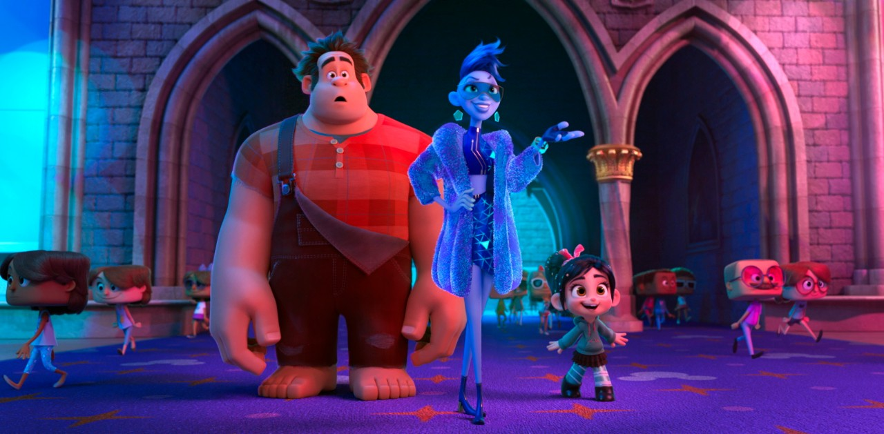 Ralph, voiced by John C. Reilly, Yess, voiced by Taraji P. Henson and Vanellope von Schweetz, voiced by Sarah Silverman in a scene from 'Ralph Breaks the Internet.'  (Disney via AP)
