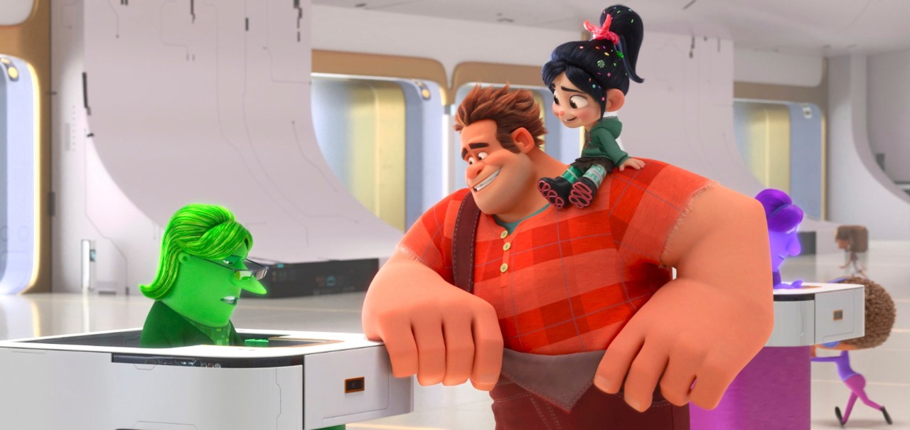 From left, eBay Elayne, voiced by Rebecca Wisocky, Ralph, voiced by John C. Reilly and Vanellope von Schweetz, voiced by Sarah Silverman in a scene from 'Ralph Breaks the Internet.'  (Disney via AP)