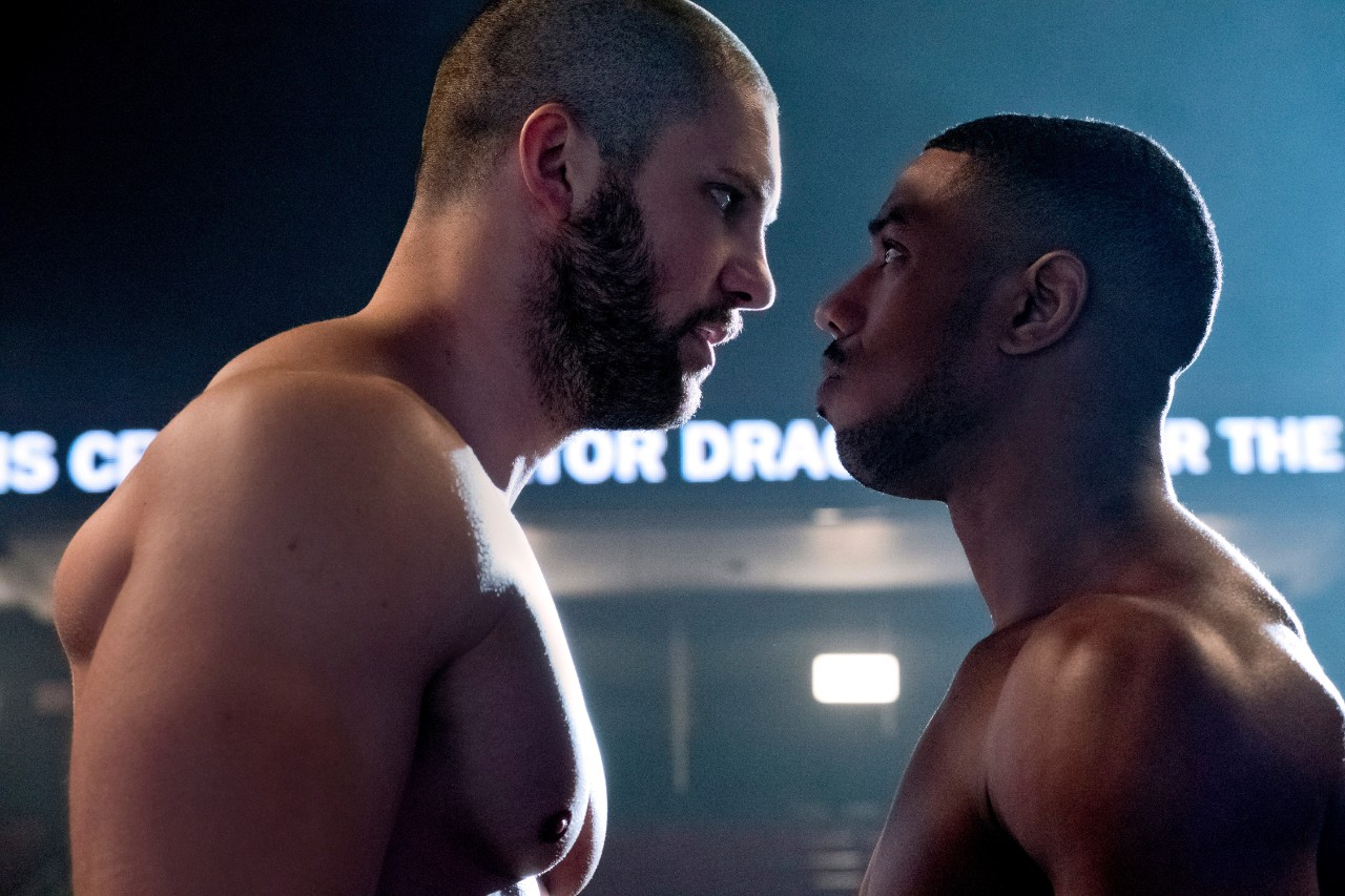 Florian Munteanu, left, and Michael B. Jordan in a scene from 'Creed II.'  (Barry Wetcher / Metro Goldwyn Mayer Pictures / Warner Bros. Pictures via AP)