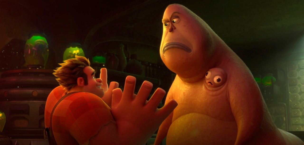 Ralph, voiced by John C. Reilly and Double Dan, voiced by Alfred Molina in a scene from 'Ralph Breaks the Internet.'  (Disney via AP)
