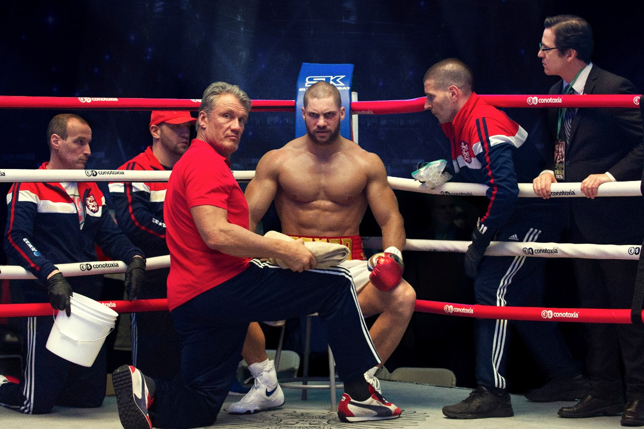 Dolph Lundgren, left, and Florian Munteanu in 'Creed II.' (Barry Wetcher/Metro Goldwyn Mayer Pictures/Warner Bros. Pictures via AP)