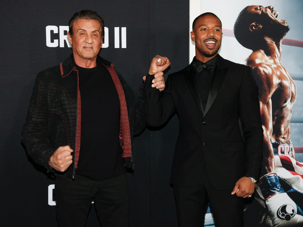 Sylvester Stallone, left, and Michael B. Jordan attend the world premiere of 'Creed II' in New York, on Nov. 14, 2018. (Andy Kropa / Invision / AP)