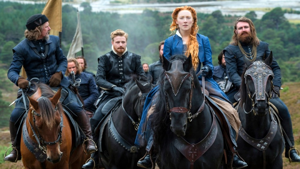 From left, Ian Hart as Lord Maitland, Jack Lowden as Lord Darnley, Saoirse Ronan as Mary Stuart and James McArdle as Earl of Moray in a scene from 'Mary Queen of Scots.' (Liam Daniel / Focus Features via AP)