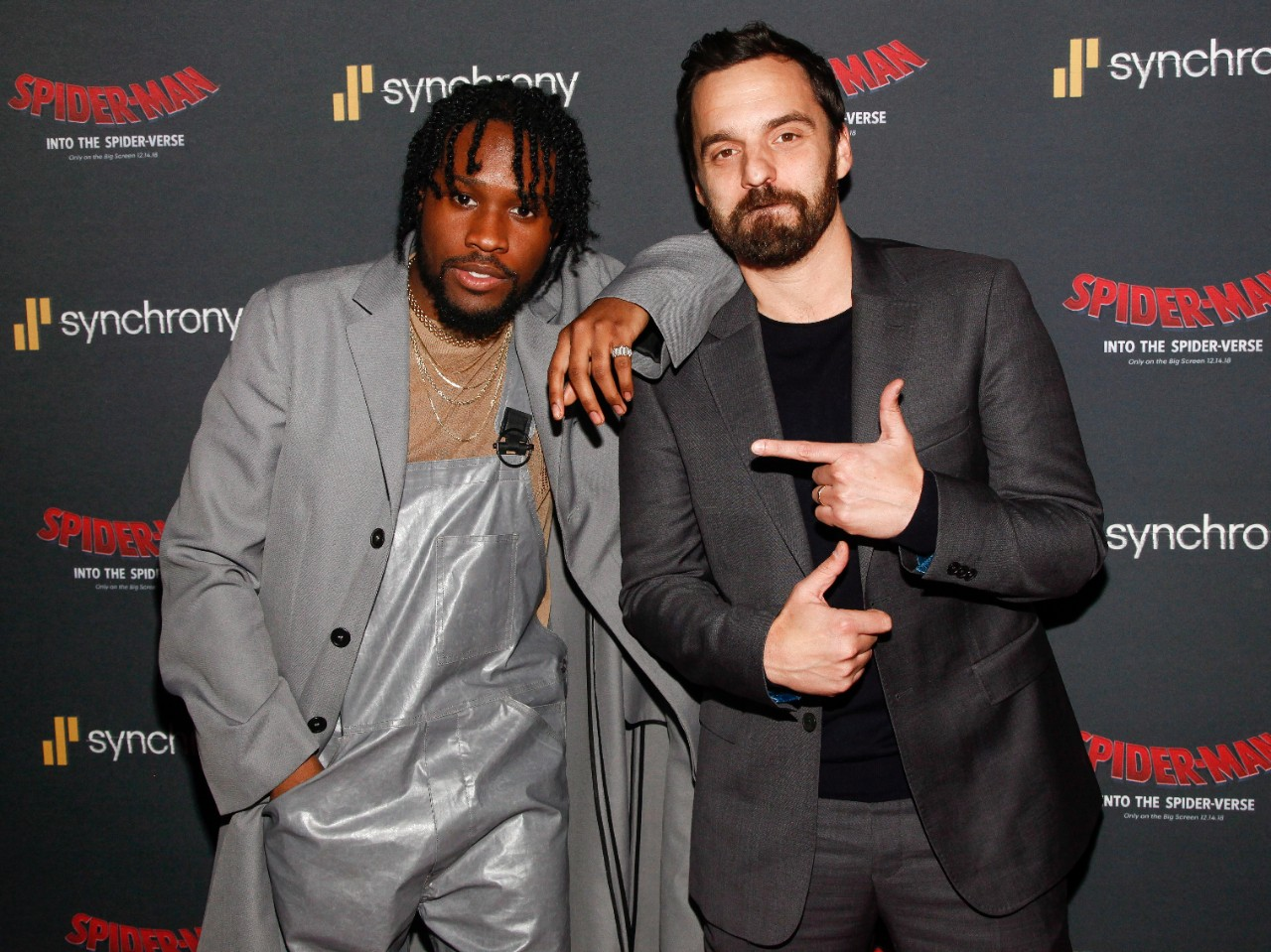 Shameik Moore, left, and Jake Johnson, right, attend a 'Spider-Man: Into the Spider-Verse' event in New York, on Dec. 11, 2018. (Andy Kropa / Invision / AP)