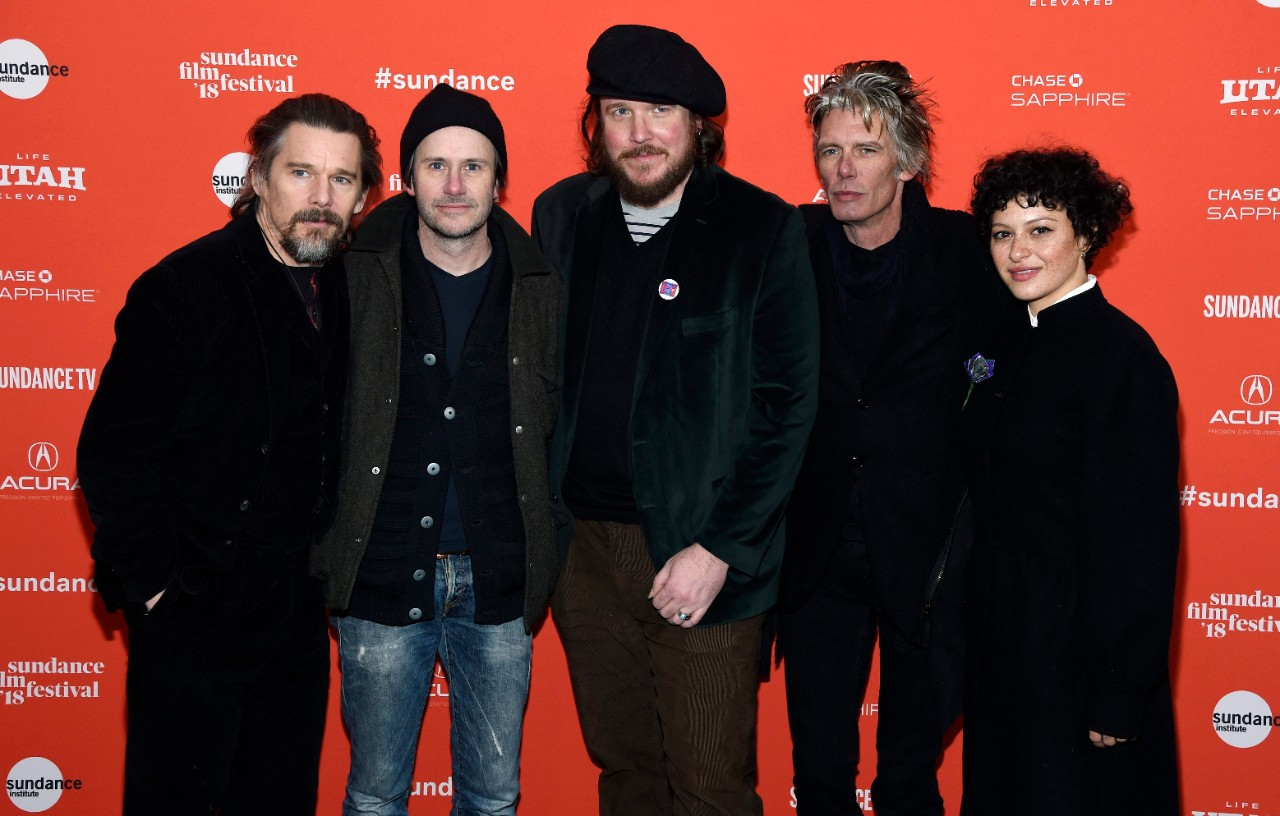 Ethan Hawke, far left, director/co-writer of 'Blaze,' poses with from left, Josh Hamilton, Ben Dickey, Charlie Sexton and Alia Shawkat in Park City, Utah, on Jan. 21, 2018. (Chris Pizzello / Invision / AP)