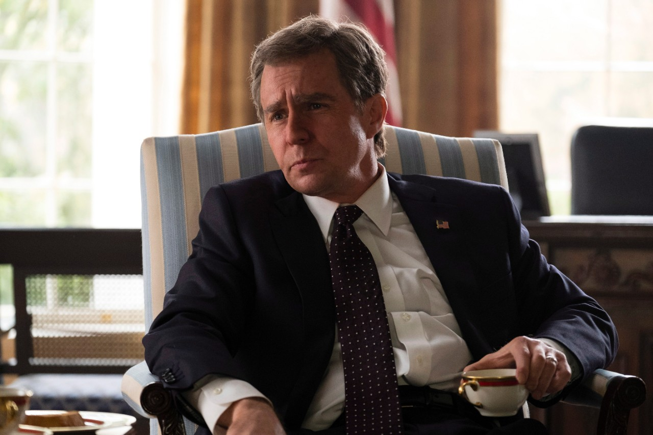 Sam Rockwell as George W. Bush in a scene from 'Vice.' (Matt Kennedy / Annapurna Pictures via AP)