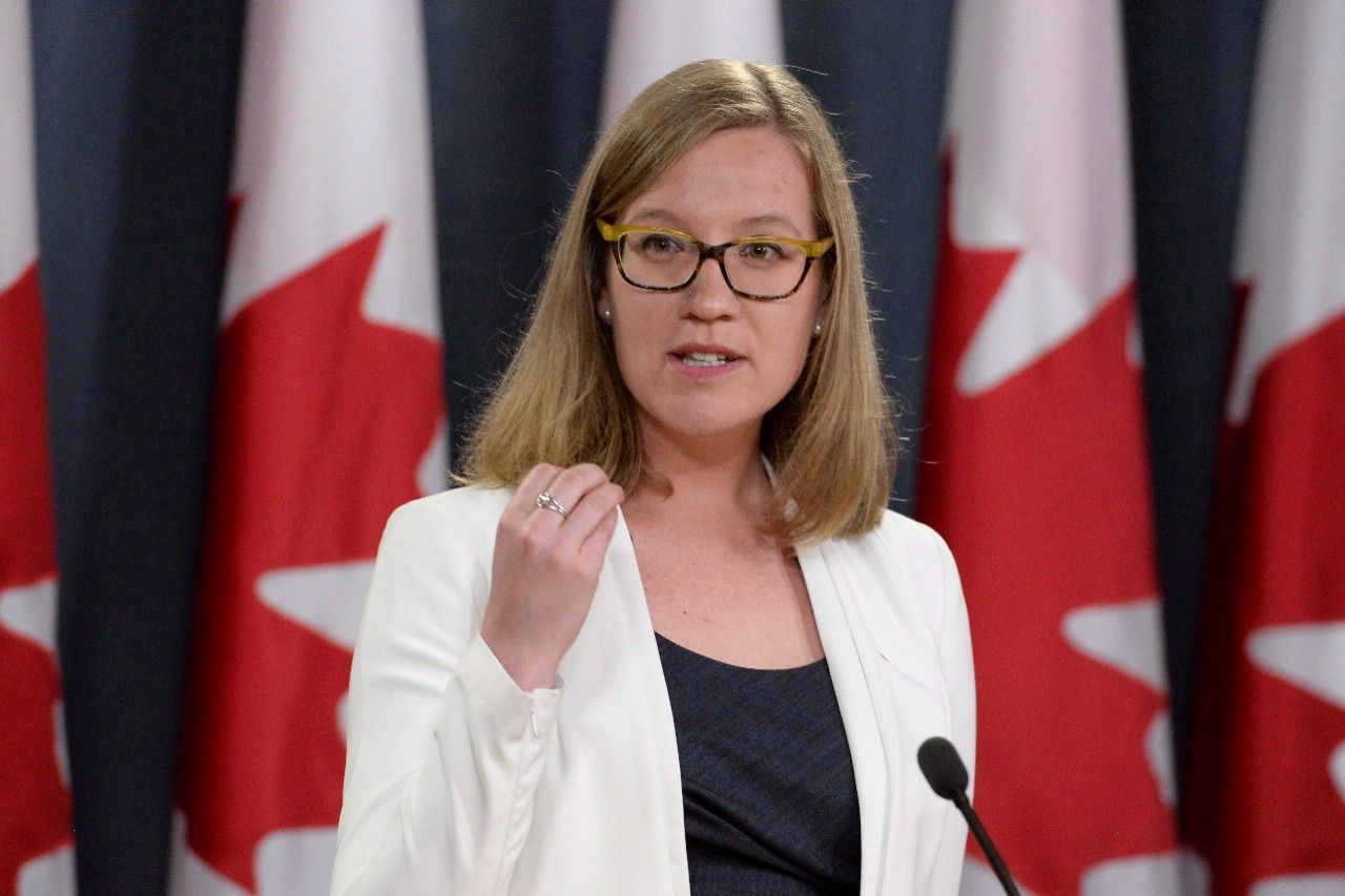 Democratic Institutions Minister Karina Gould discusses an assessment of cyber threats to Canada's democratic process in Ottawa, on June 16, 2017. (Adrian Wyld / THE CANADIAN PRESS)