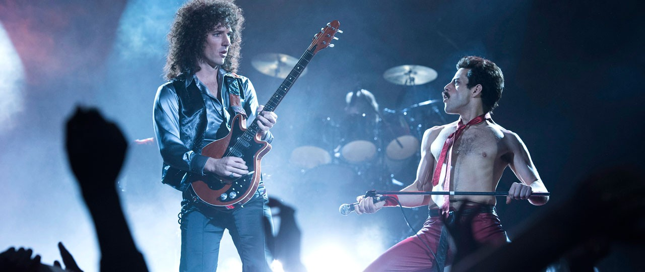 Gwilym Lee, left, and Rami Malek in a scene from 'Bohemian Rhapsody.' (Alex Bailey / Twentieth Century Fox via AP)