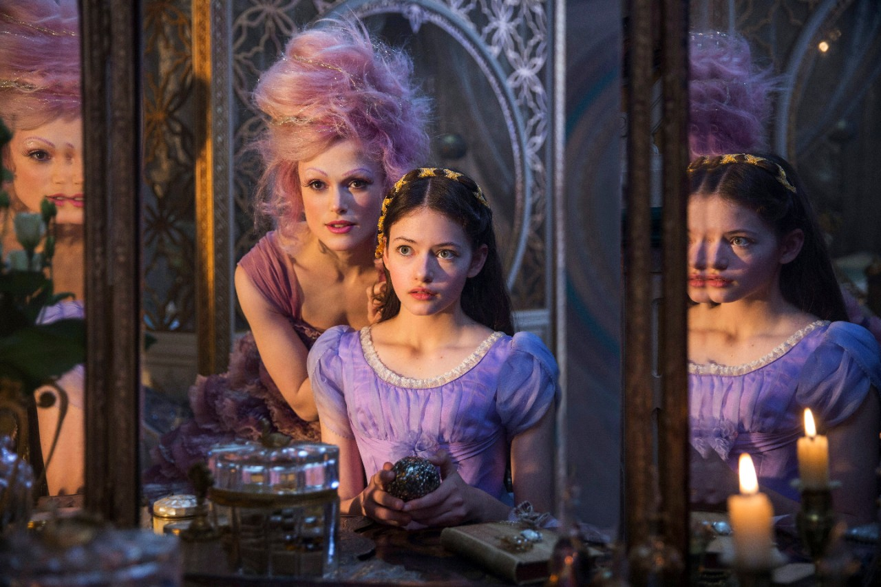 "Keira Knightley, left, and Mackenzie Foy in a scene from ""The Nutcracker and the Four Realms."" (Laurie Sparham / Disney via AP)"