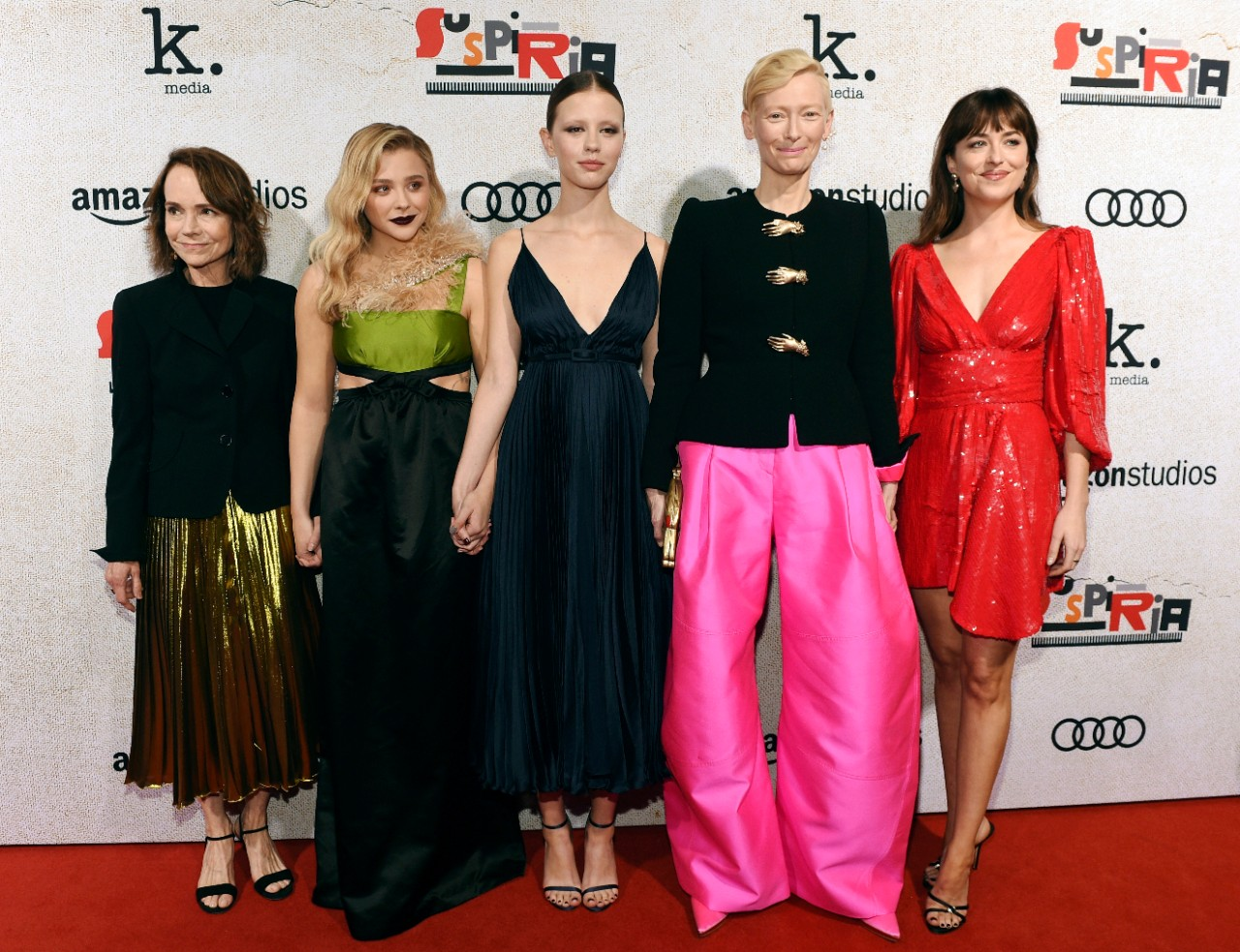 'Suspiria' cast members Jessica Harper, from left, Chloe Grace Moretz, Mia Goth, Tilda Swinton and Dakota Johnson at the ArcLight Hollywood in L.A., on Oct. 24, 2018. (Chris Pizzello / Invision / AP)