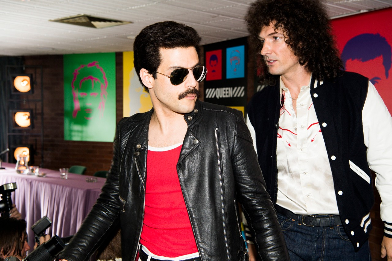 Rami Malek, left, and Gwilym Lee in a scene from 'Bohemian Rhapsody.' (Alex Bailey / Twentieth Century Fox via AP)