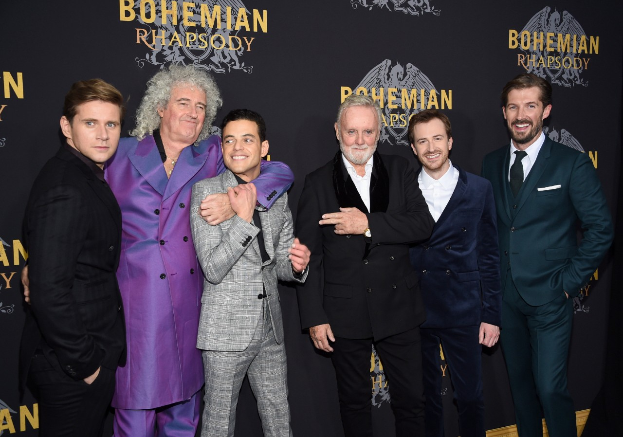 Actor Allen Leech, left, musician Brian May, actor Rami Malek, musician Roger Taylor, actor Joe Mazzello and actor Gwilym Lee at the New York premiere of 'Bohemian Rhapsody' on Oct. 30, 2018. (Evan Agostini / Invision / AP)