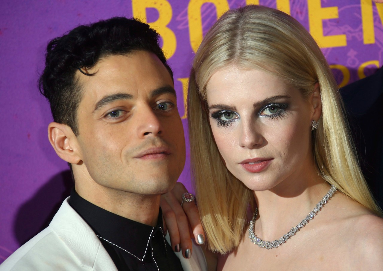 Rami Malek, left, and Lucy Boynton at the 'Bohemian Rhapsody' world premiere in London on Oct. 23, 2018. (Joel C Ryan / Invision / AP)