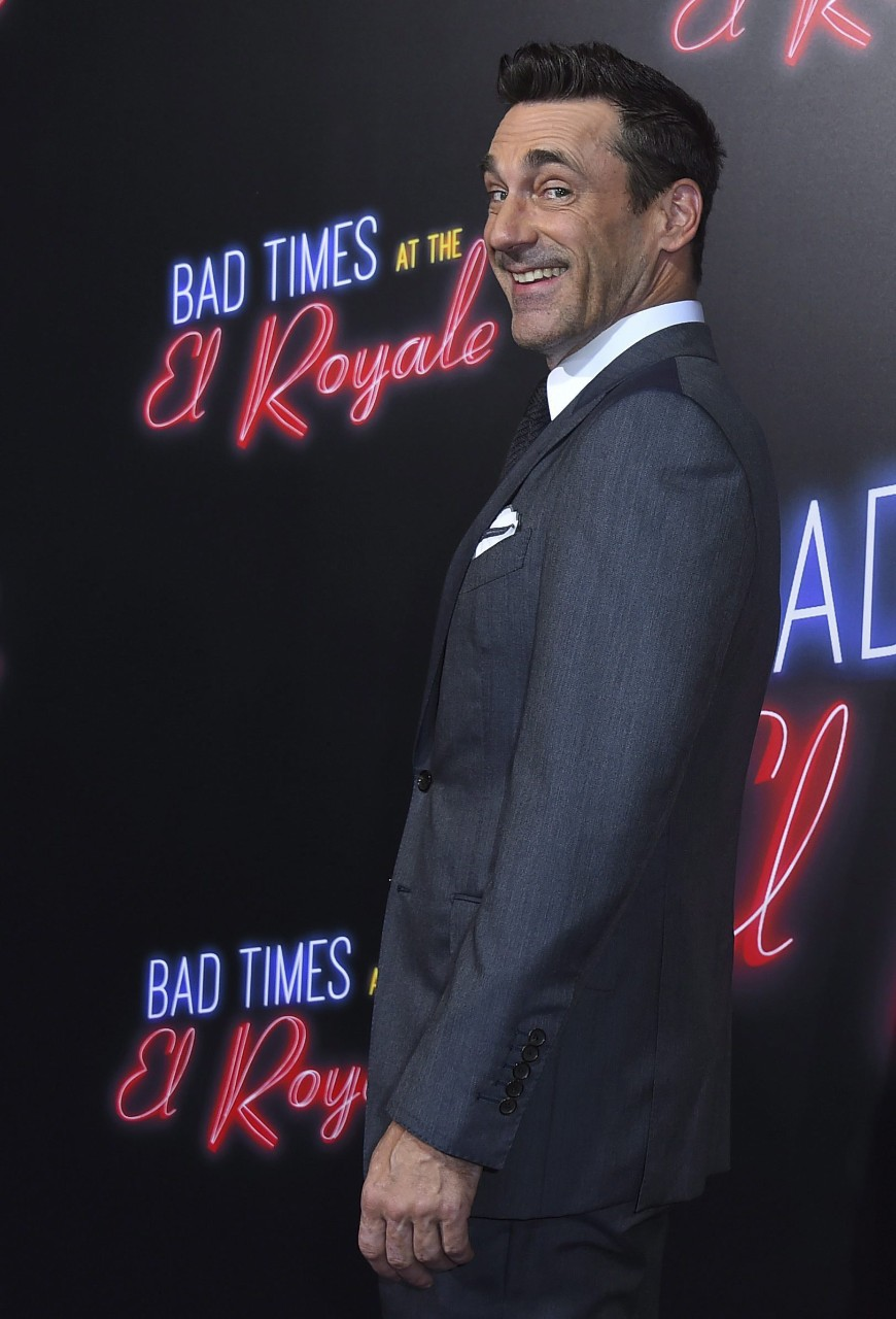 "Cast member Jon Hamm arrives at the Los Angeles premiere of ""Bad Times at the El Royale"" at TCL Chinese Theatre, on Sept. 22, 2018. (Photo by Jordan Strauss/Invision/AP)"