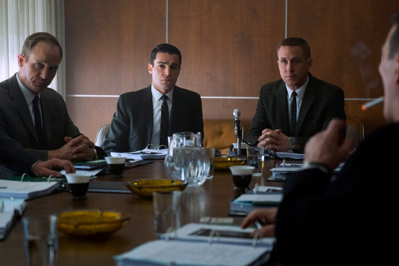 Ethan Embry, from left, Christopher Abbot and Ryan Gosling in 'First Man.' (Daniel McFadden/Universal Pictures via AP)
