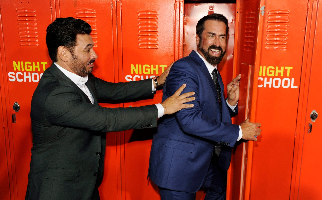 Al Madrigal, left, and Rob Riggle at the 'Night School' premiere.