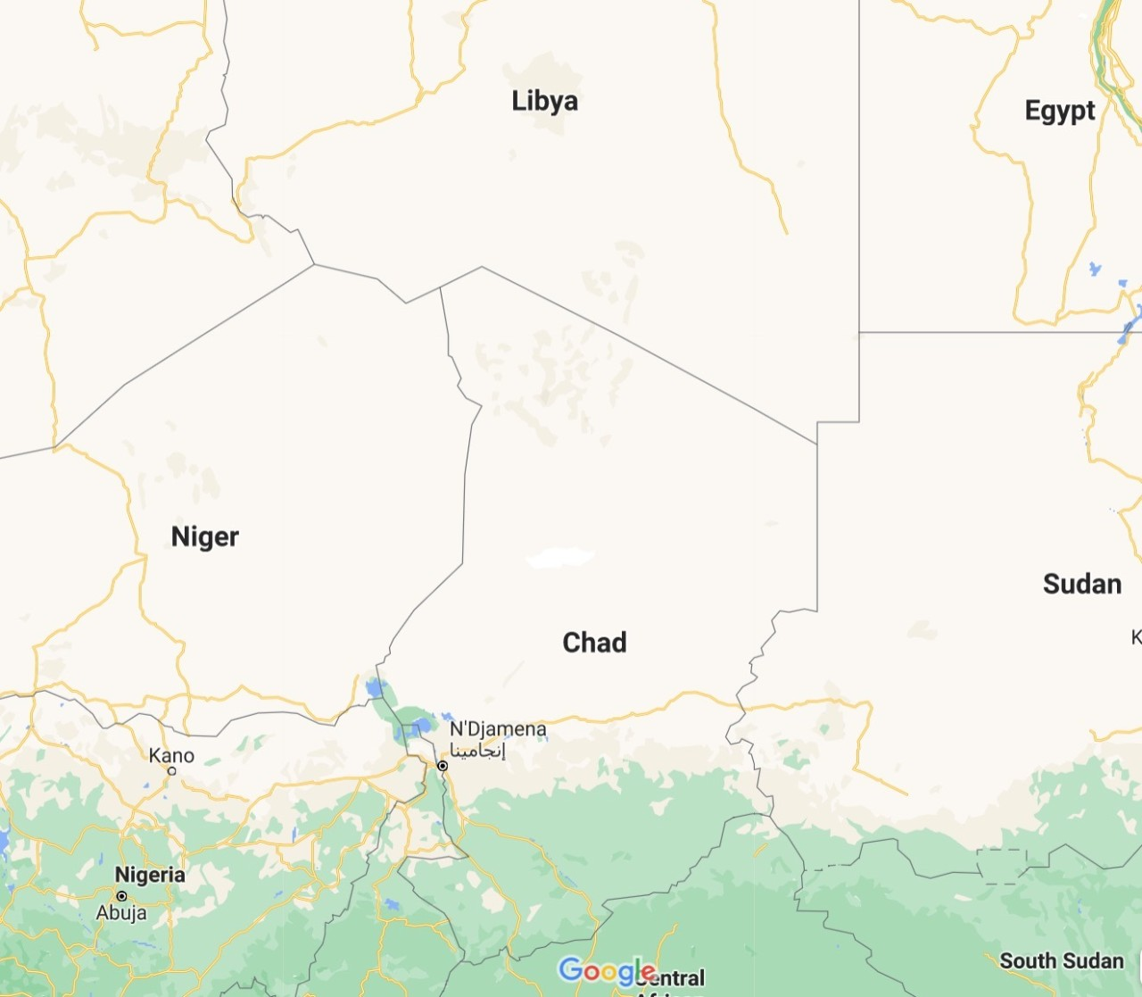 Map of Chad and Libya. (Google Maps)